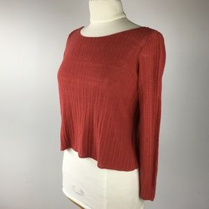 Eileen Fisher Cropped LS Sweater Rust Red S
